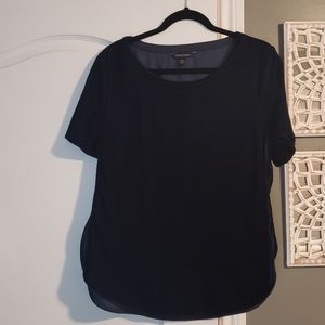 Banana Republic Navy Velvet short sleeve blouse